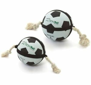 *Dog Puppy Football with Rope Interactive Large Action Ball Fetch Heavy Duty Toy