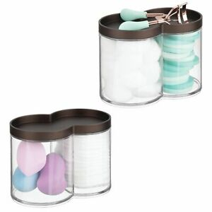 mDesign Bathroom Vanity Countertop Canister Jar with Lid, 2 Pack - Clear/Bronze