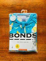 Bonds Baby Boy Cockatoo Blue Short Sleeve Zip Romper Size 00 BNIP Yellow