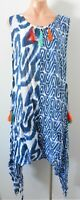 Orientique Top Size 14 Blue White Sleeveless Layering Tunic Slit Sides