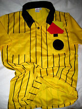 OFFICIAL SOCCER REFEREE 2 POCKET YELLOW BLACK STRIPE EPIC SOCCER JERSEY-LNWOT-M