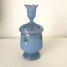 ST LOUIS 1850 circa - OPALINE Pot Bonbonnière Bleu Lavande Décor Emaillé
