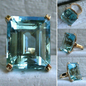 Vintage Gold Aquamarine Diamond Gem Engagement Wedding Ring Size 6-10 Wholesale