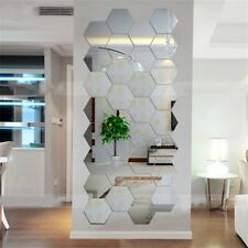 Hexagonal 3D Mirrors Wall Stickers Home Decor Living Room Mirror Wall Sticker LQ