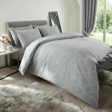 Metro Geometric Diamond Grey Double Duvet Cover Set Bedding Polycotton