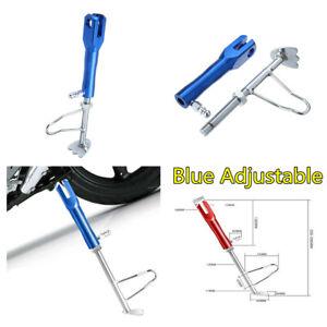 CNC Adjustable Non-slip Kickstand Motorcycle Leg Prop Side Stand255-295mm Blue