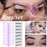 8 Pairs Eyebrow Grooming Stencil Set Template Women Makeup Shaping Shaper DIY