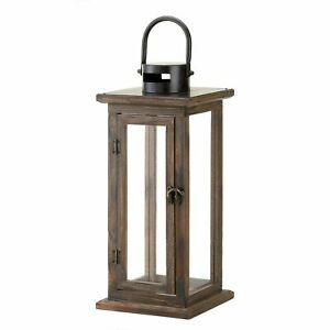 HOME LIGHTING DECOR LARGE LODGE WOODEN CANDLE LANTERN