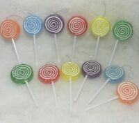 12 Lollipop Swirl Christmas Tree Ornaments Candy, Sugar Coated