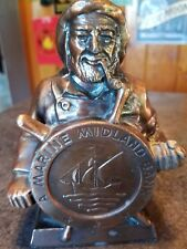Vintage Banthrico cast metal Marine Midland advertising Coin Bank Man of the Sea