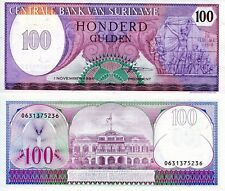 SURINAME 100 Gulden Banknote World Paper Money UNC Currency Pick p128b 1985 Bill