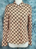 Tory Burch Womens 8 Orange Black Geometric Pockets Long Sleeve Button Down Top