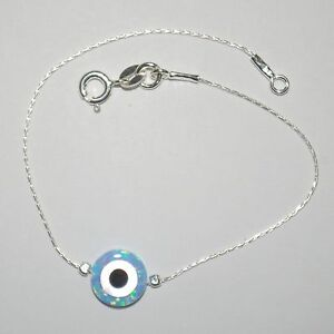 10mm Light Blue OPAL EVIL EYE Charm with Sterling Silver 925 Fine Chain BRACELET
