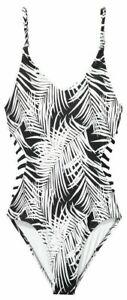 VICTORIA'S SECRET PINK GYM TO SWIM Strappy Swimsuit White Black Tropical L NEW