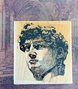 Postmodern Design Michelangelo David Wood Mount Rubber Stamp Italian Renaissance