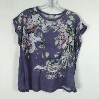 Anthropologie Postmark Blouse Size S Purple Floral Butterflies Rolled Short Slvs