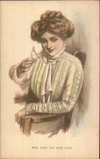 Beautiful Woman Holding Wishbone Good Luck c1910 Hand Colored Postcard