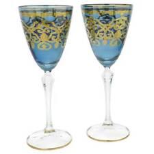 GlassOfVenice Set of Two Murano Glass Wine Glasses 24K Gold Leaf - Blue