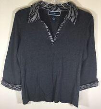 Karen Scott Long Sleeve  Women's Gray Top Shirt  Size Medium Casual Shirt