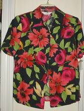 ALLISON DALEY ISLAND FLORAL BUTTON FRONT SHORT SLEEVE SHIRT TOP PM 10 12 NWT