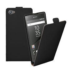 Slim Flip Cuero Negro Funda Protectora bolsa para el teléfono móvil Sony Xperia Z5 Compacto