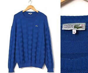 80s Vintage Mens LACOSTE Sweater Jumper Knitted Blue Size 6 XL