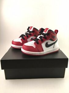 Air Jordan 1 Mid TD Chicago Size 5C White Red Toddler Basketball Shoe 640735-173