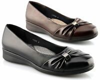 Ladies Womens Flat Shoes Courts Ultra Padded Comfort Sash Vamp Wedge Casual Size