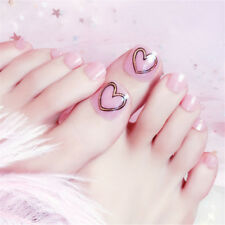 Fashion Pink Heart Short False Fake Artificials Toe Nails Tip Toe Nail Art TooTS