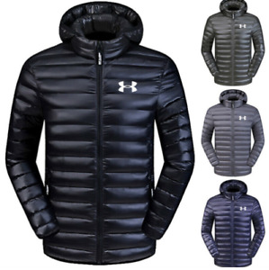 Men's Under Armour Down Jacket Winter Thick Coat Hooded Warm Puffer Overcoat 201