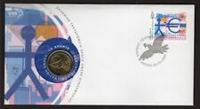 """GREECE 2009 - Cover with stamps & 2 Euros coins """"Economic Union of Europe"""""""