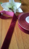 3 x Breites Samtband Bordeaux Rot Velvet 25mm breit Meterweise Dekorationsband