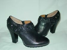 Womens Sofft Brand Leather Studded Harness Ankle Booties Shoes Heels Zipper 10 M