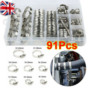 91 X Assorted Stainless Steel Hose Clamp Kits No Driver Jubilee Clips Set Box