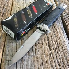 EMT EMS Black Italian Style Stiletto Spring Assisted Open Rescue Pocket Knife -S
