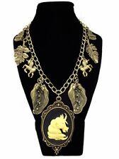 Unicorn Cameo Collar De Encanto-Magia Mito Fantasía Bosque Woodland Castillo De Bronce