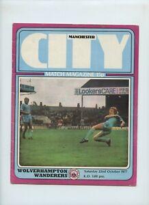 October 1977 Manchester City Wolverhampton Wanderers Wolves Soccer Program
