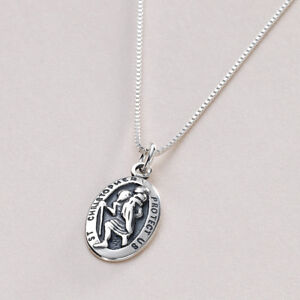 Sterling Silver Saint Christopher Necklace. Personalised with Free Engraving!