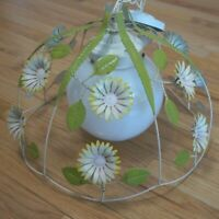 VTG Mid Century Tole Pendant Lamp w Metal Flowers Hanging Light w Glass Globe