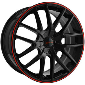 "Touren TR60 16x7 5x112/5x120 +42mm Black/Red Wheel Rim 16"" Inch"