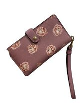 Coach Iphone 12 Mini Wristlet Phone Case Wallet Pink Rose Print 32450
