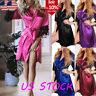 Women Satin Silk Lace Lingerie Sleepwear Kimono Bath Robe Pyjama Gown Nightdress
