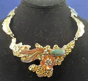 Vintage Luciano Mexico Modernist Brutalist Mixed Metal Malachite Artist Necklace