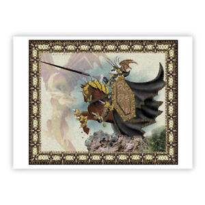 © ART -  Dragon Slayer riding illustration Fantasy Drawing - Artist Print By Di