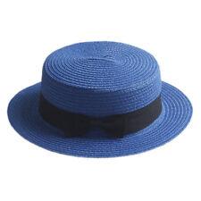 Fashion Women Men Summer Straw Boater Hat Boonie Hats Beach Sunhat Bowler Caps