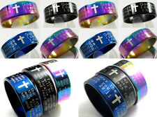 60 English cross lord's prayer serenity jeremiah stainless steel rings joblot