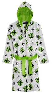 Minecraft Hooded Soft Dressing Gown with Creeper Design for Gamers Boys Girls