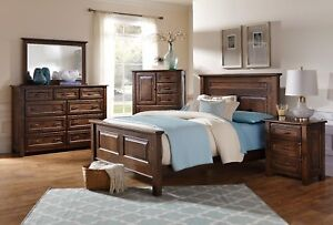 Amish Luxury Bedroom Set Rustic Distressed Solid Wood Queen King 5-Pc