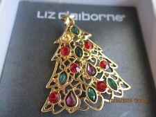 Nib Christmas Tree Brooch, Liz Claiborne, Rhinestones Gold Tone Filigree