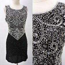 Vintage 90s Laurence Kazar Heavy Beaded Silk Tank Mini Dress Black White Swirl S